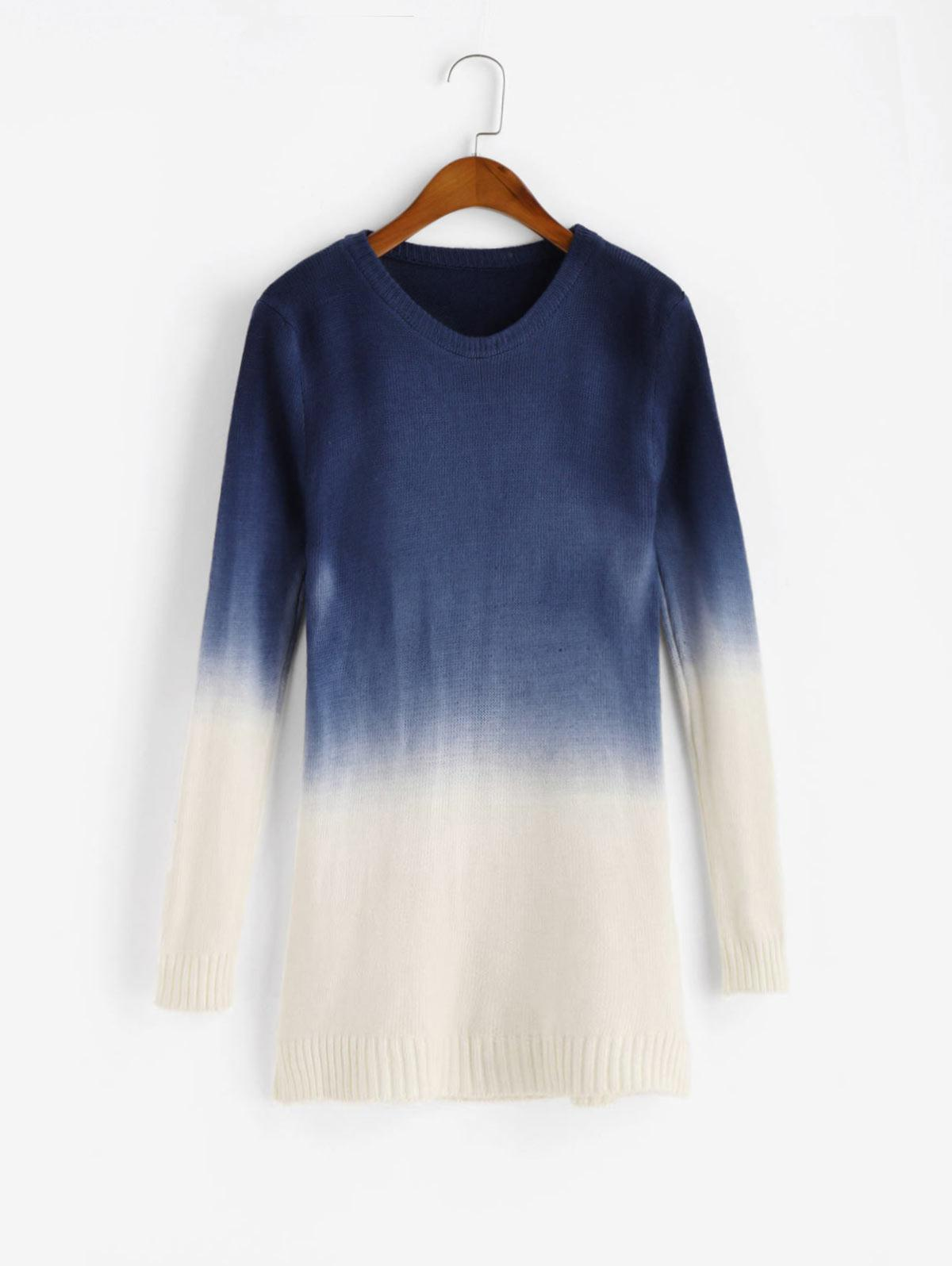 Ombre Side Slit Knit Slim Sweater