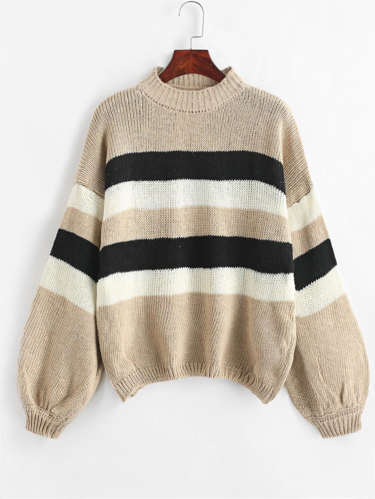 Lantern Sleeve Stripes Pullover Sweater, Camel brown