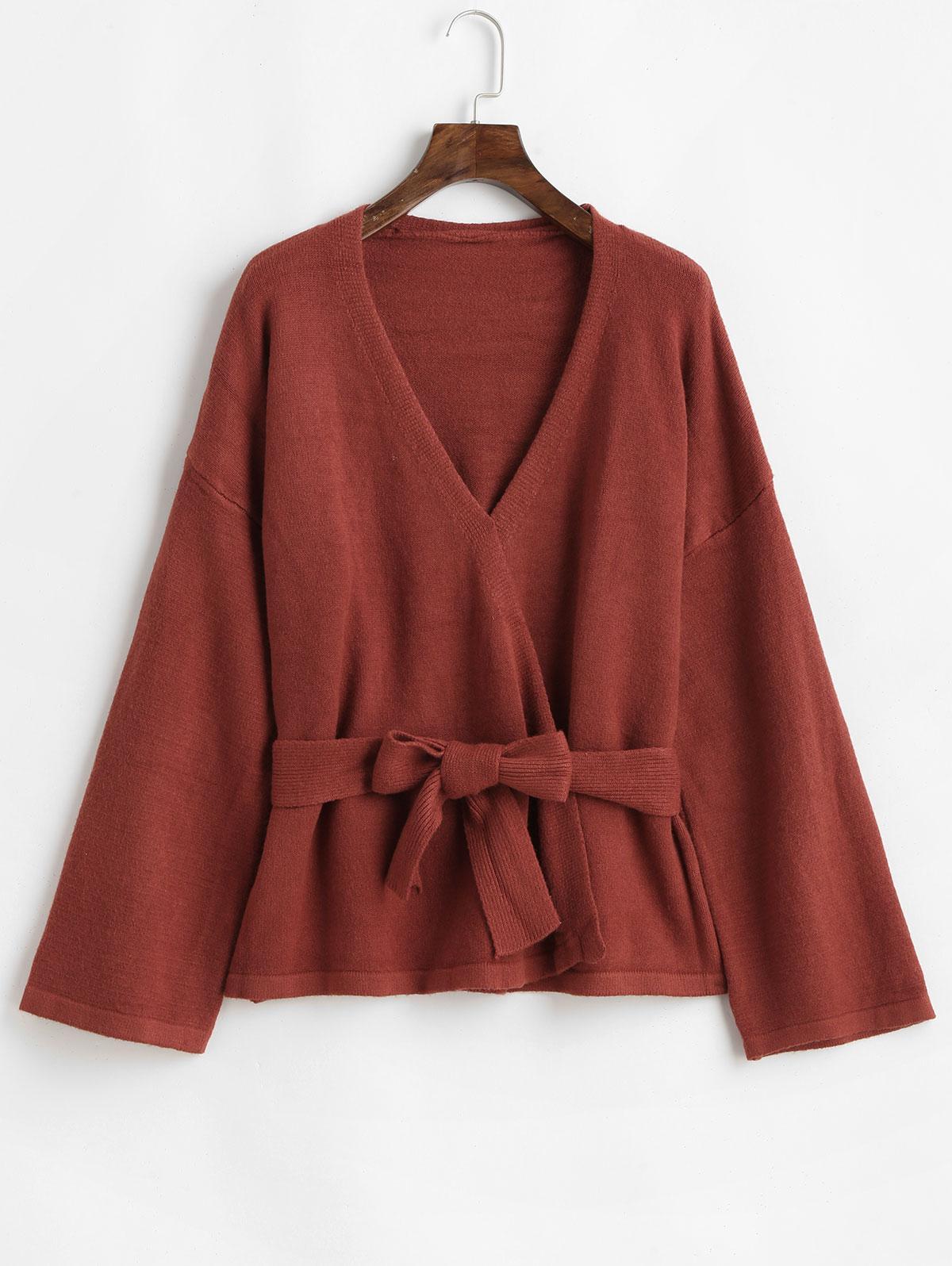 Open Front Belted Drop Shoulder Cardigan