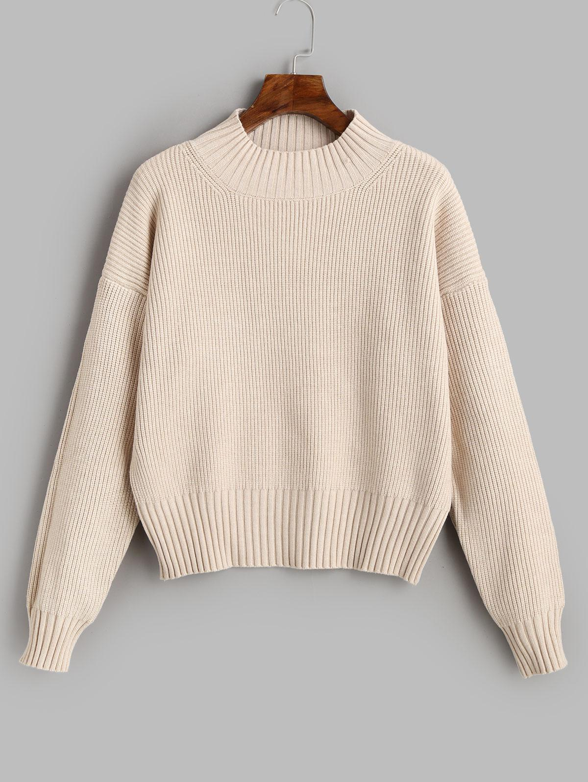 Mock Neck Drop Shoulder Plain Sweater
