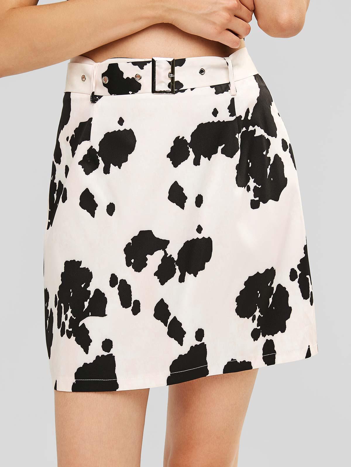 ZAFUL Belted Cow Print Mini Skirt thumbnail