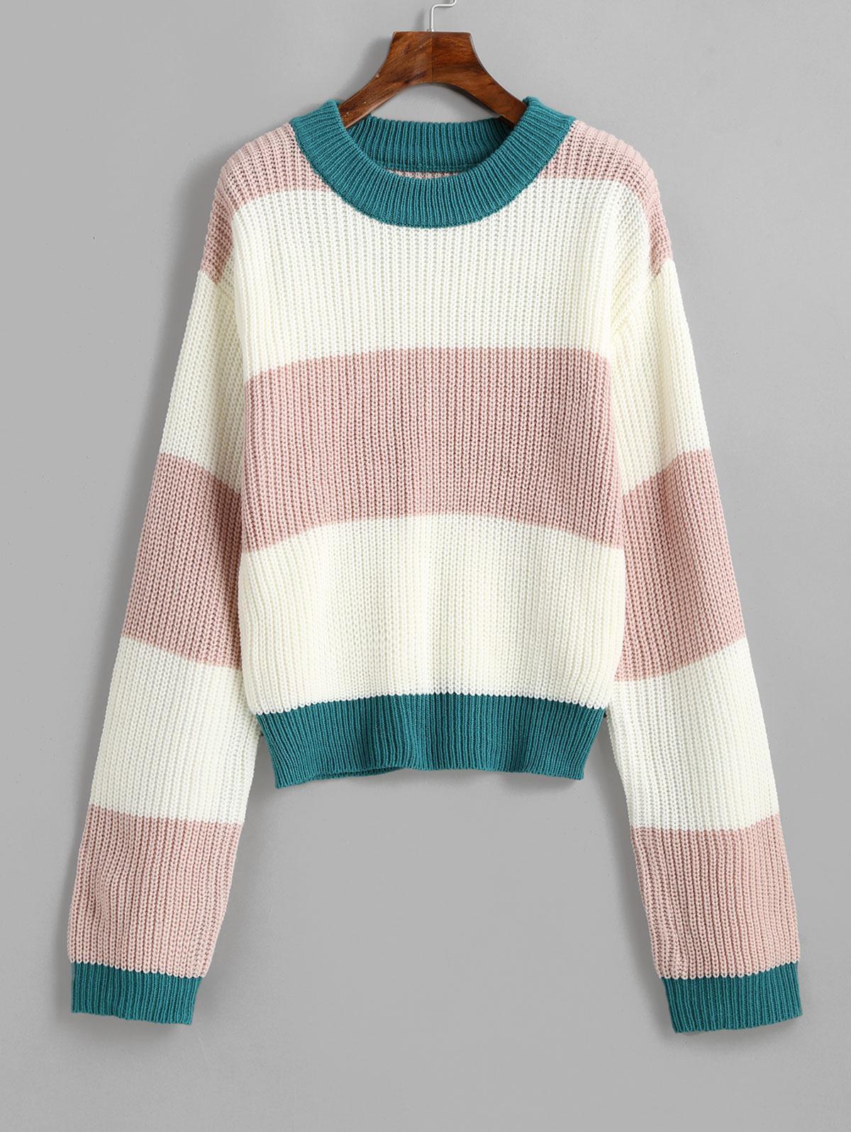 ZAFUL Pullover Crew Neck Colorblock Sweater