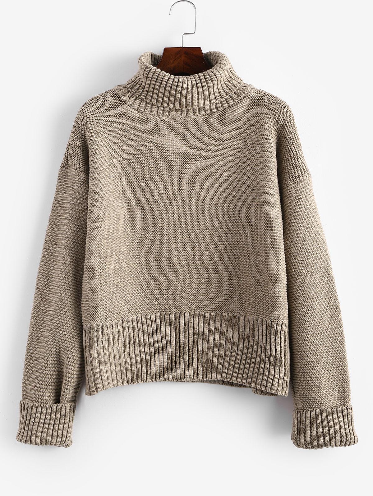 Turtleneck Drop Shoulder Cuff Sleeve Sweater