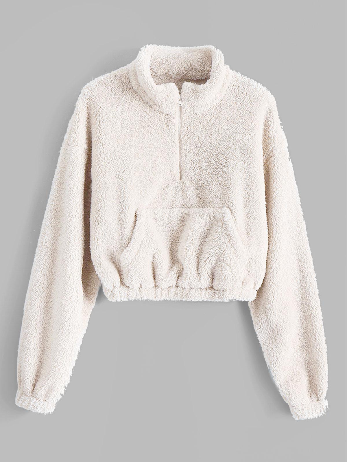 ZAFUL x Alexis Ricecakes Front Pocket Solid Crop Faux Fur Sweatshirt thumbnail