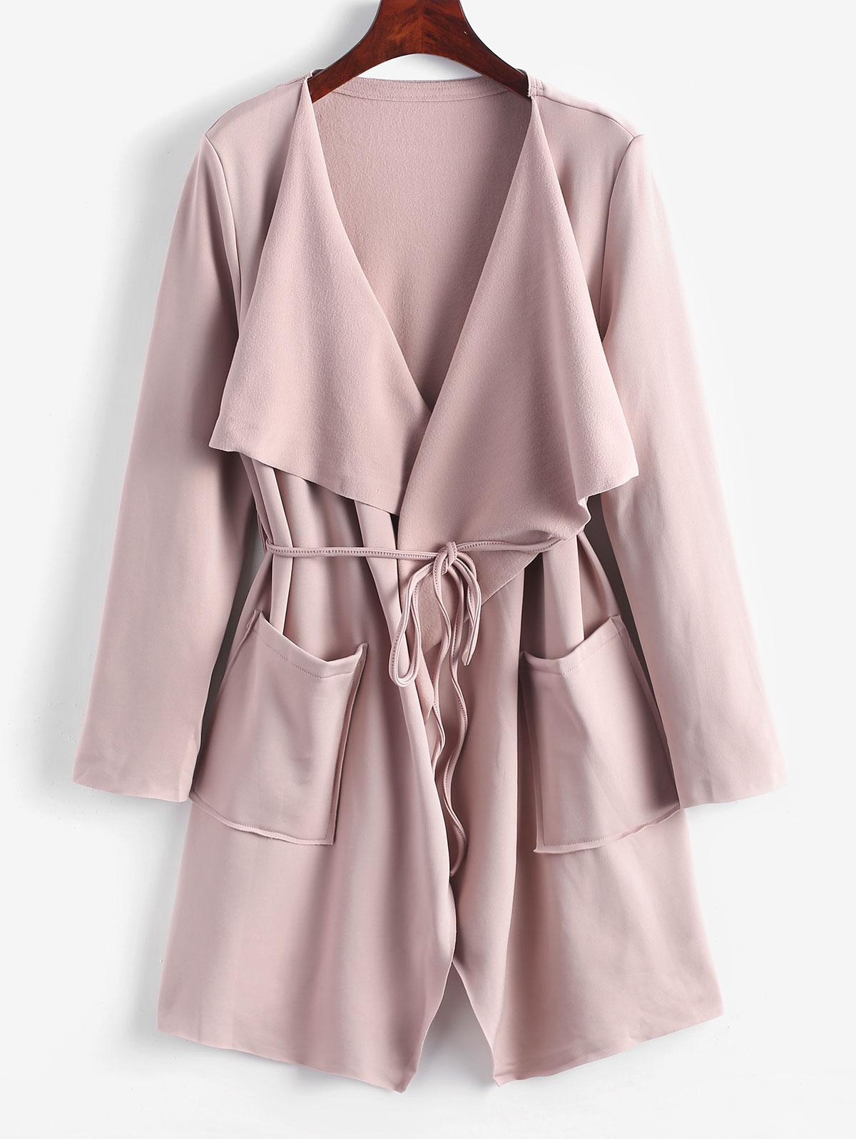 Belted Skirted Patched Pockets Waterfall Coat thumbnail