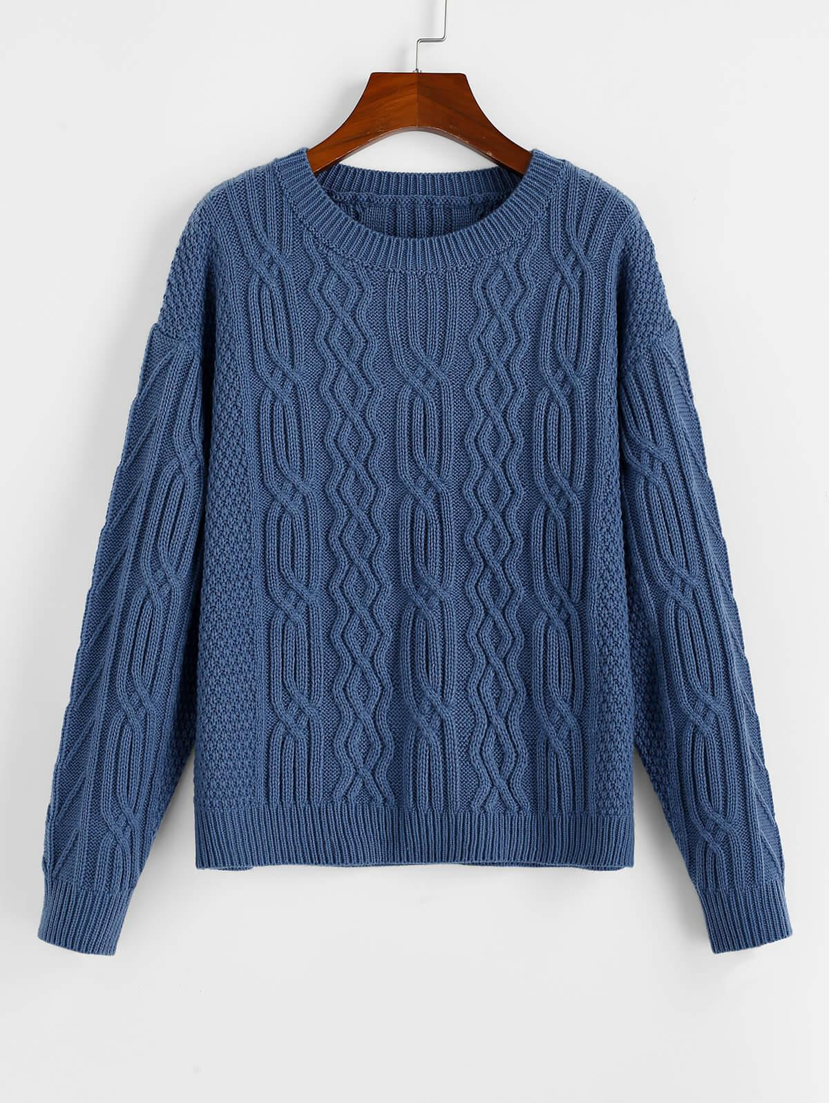 ZAFUL Drop Shoulder Plain Textured Sweater
