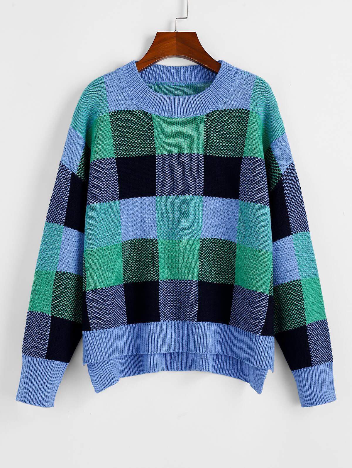 ZAFUL Plaid Drop Shoulder Slit High Low Sweater