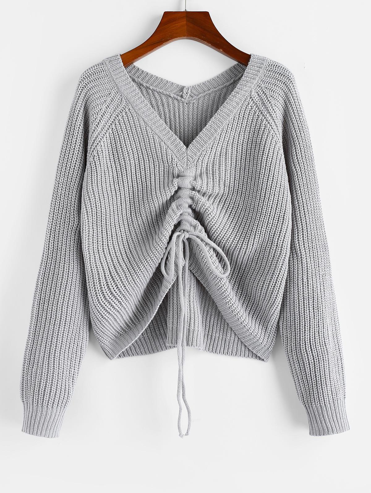 ZAFUL V Neck Shirred Ribbed High Low Sweater thumbnail