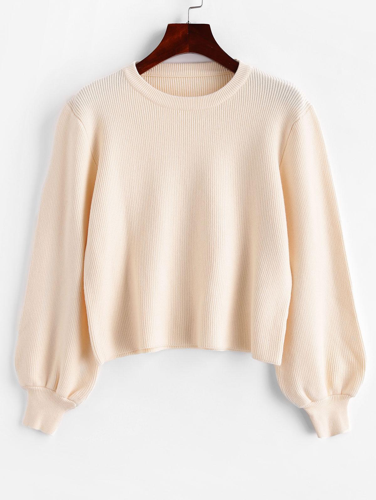 Lantern Sleeve Crew Neck Plain Sweater