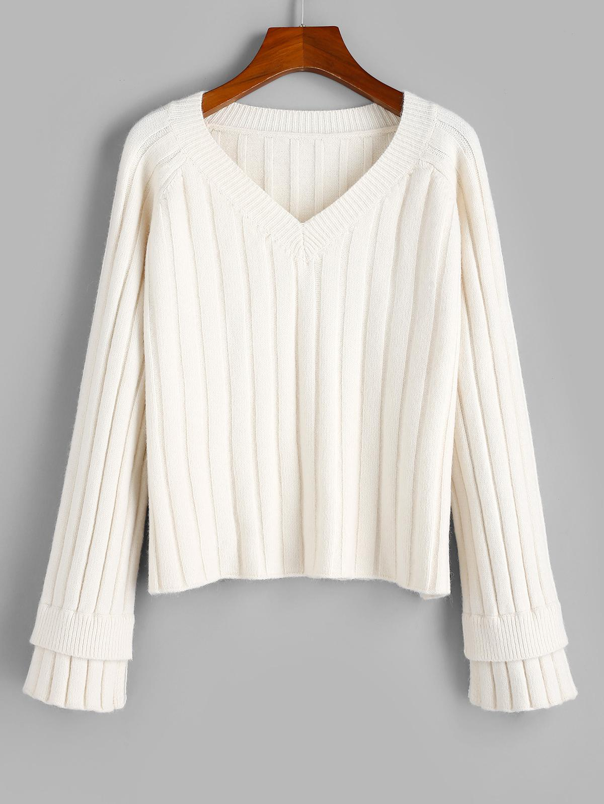 ZAFUL Layered Cuff Ribbed Raglan Sleeve Sweater
