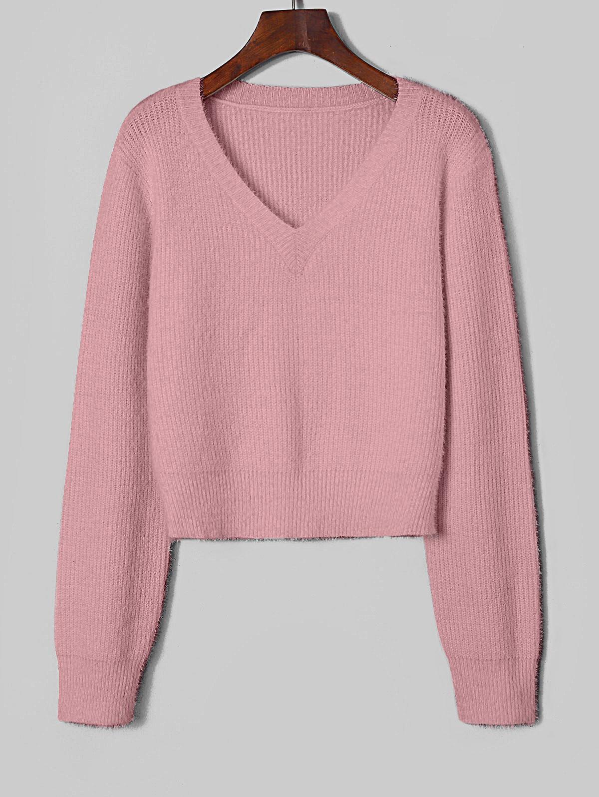 ZAFUL Fuzzy V Neck Fluffy Knit Sweater