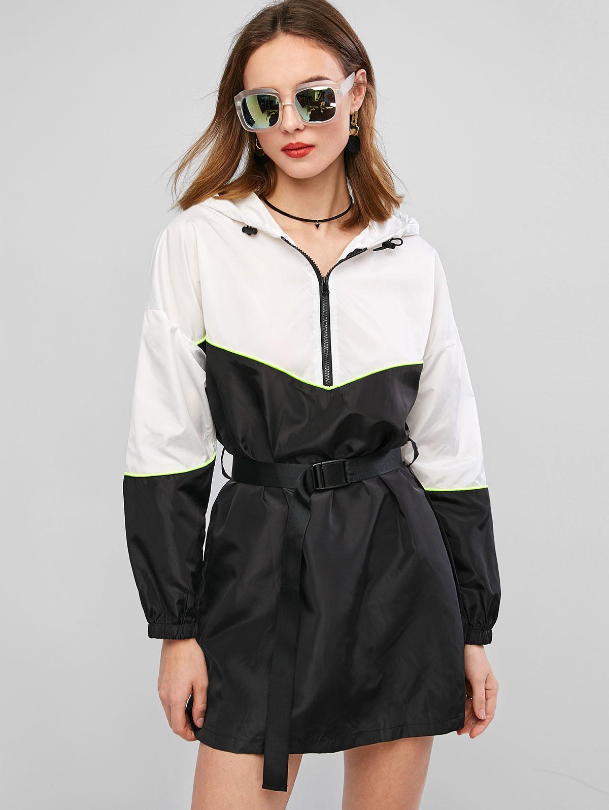 ZAFUL Two Tone Zip Hooded Neon Trim Belted Dress, Black