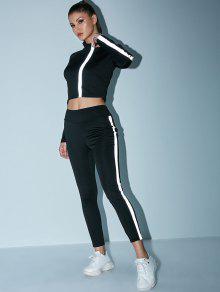 عاكس السترة المحاصيل مع البدلة اللباس الرياضي - أسود S
