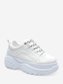 عارضة الدانتيل يصل منصة أبي أحذية رياضية - أبيض الاتحاد الأوروبي 40