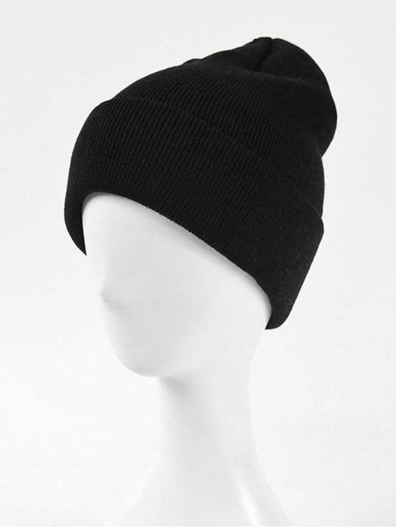 shop Solid Knitted Soft Winter Weaving Hat - BLACK