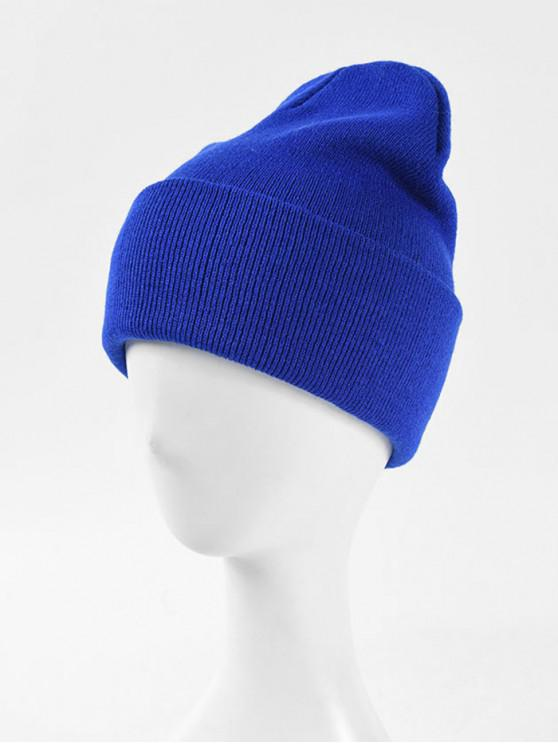 fancy Solid Knitted Soft Winter Weaving Hat - BLUE