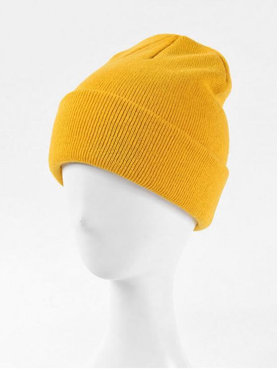 Bonnet d'Hiver Tricoté Tressé en Couleur Unie - Jaune