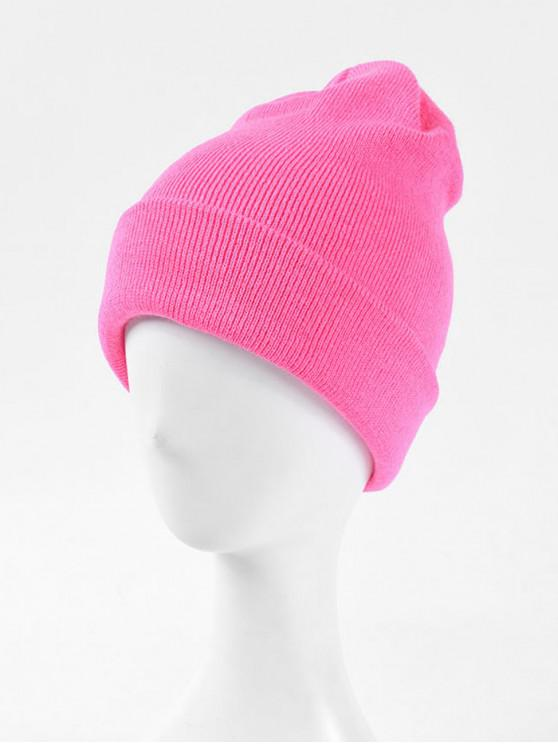 outfit Solid Knitted Soft Winter Weaving Hat - WATERMELON PINK