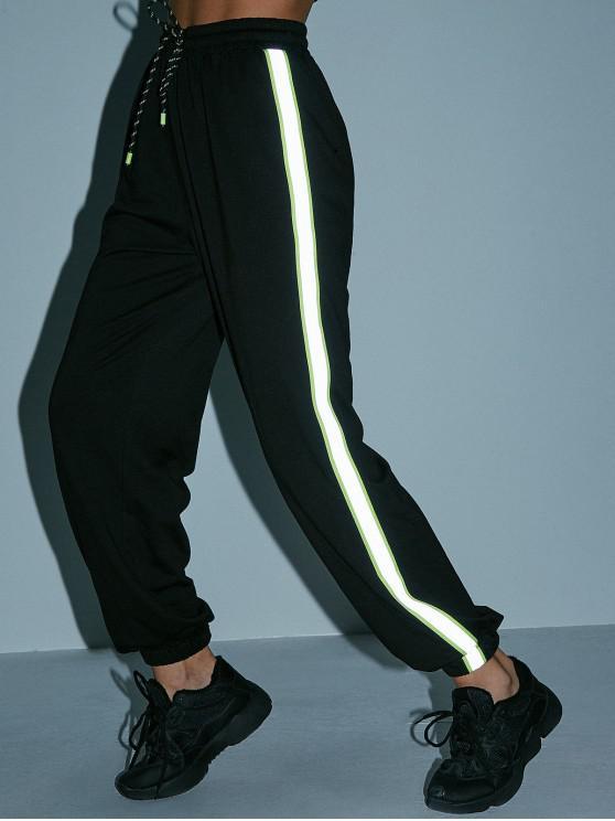 outfit ZAFUL Neon Reflective Side Drawstring Jogger Pants - BLACK S