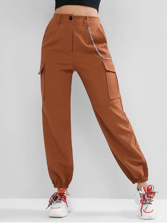 latest Flap Pockets Chain Jogger Pants - LIGHT BROWN L