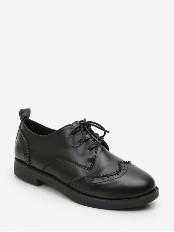 ของแข็งหนัง PU รองเท้าวินเทจ - สีดำ EU 35
