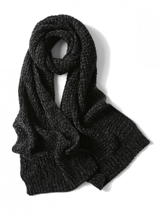 Bufanda elegante unisex simple invierno suave tejido largo - Negro