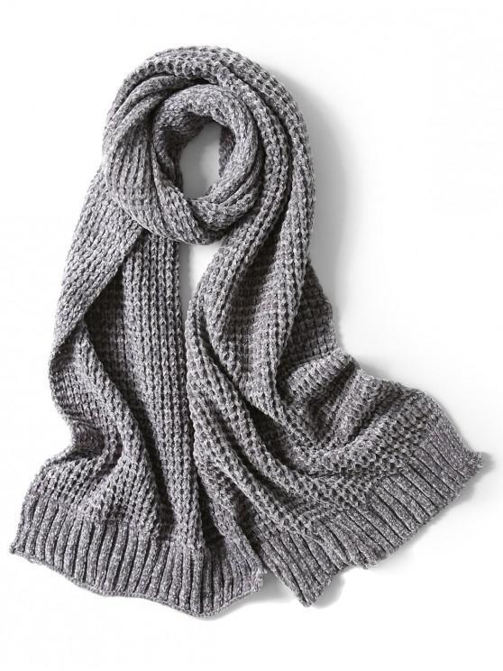 Bufanda elegante unisex simple invierno suave tejido largo - Gris