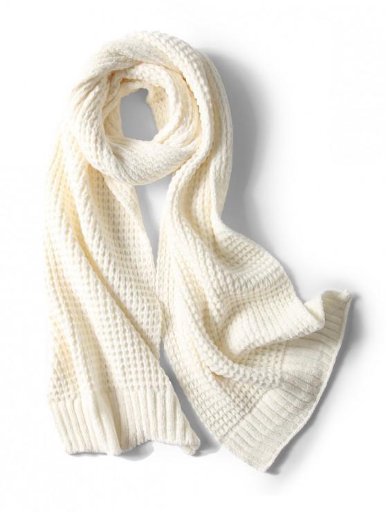 Bufanda elegante unisex simple invierno suave tejido largo - Blanco