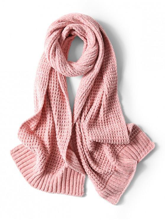 Bufanda elegante unisex simple invierno suave tejido largo - Rosado
