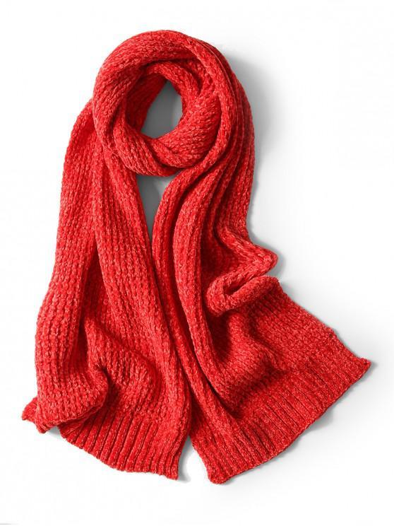 Bufanda elegante unisex simple invierno suave tejido largo - Rojo