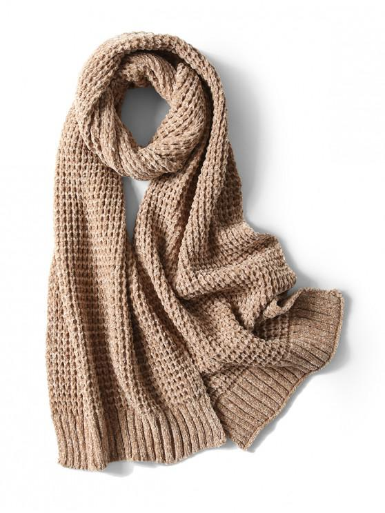 Bufanda elegante unisex simple invierno suave tejido largo - Caqui