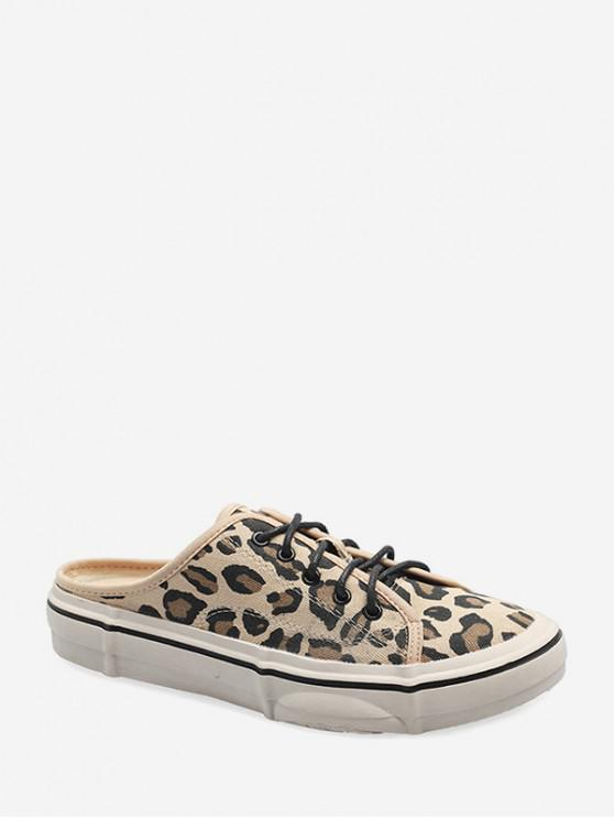 outfits Casual Leopard Pattern Canvas Lace-up Flat Shoes - LEOPARD EU 39