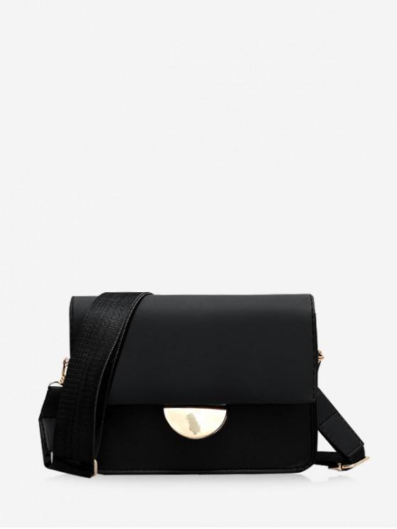 latest Semicircle Buckle Flap Crossbody Bag - BLACK