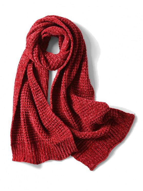 Bufanda elegante unisex simple invierno suave tejido largo - Vino Tinto