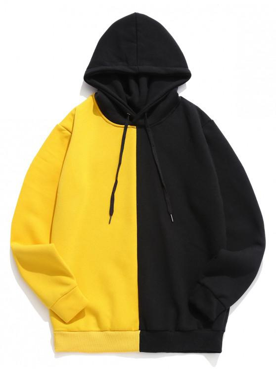 affordable Color-blocking Casual Drawstring Hoodie - YELLOW M