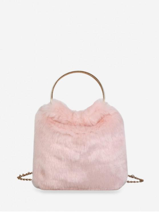 outfit Metal Handle Faux Fur Chain Handbag - PIG PINK