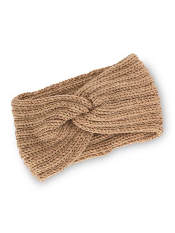 針織辮子結彈性頭帶 - 黃褐色