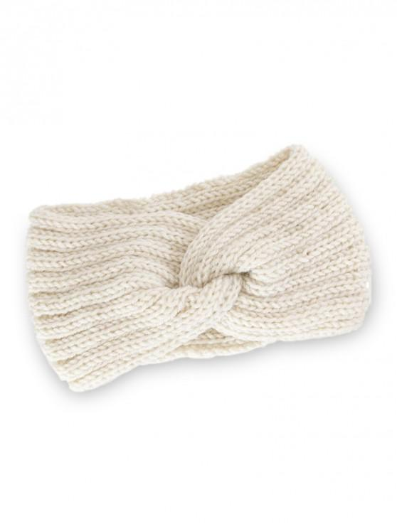 lady Knitted Braid Knot Elastic Headband - BEIGE