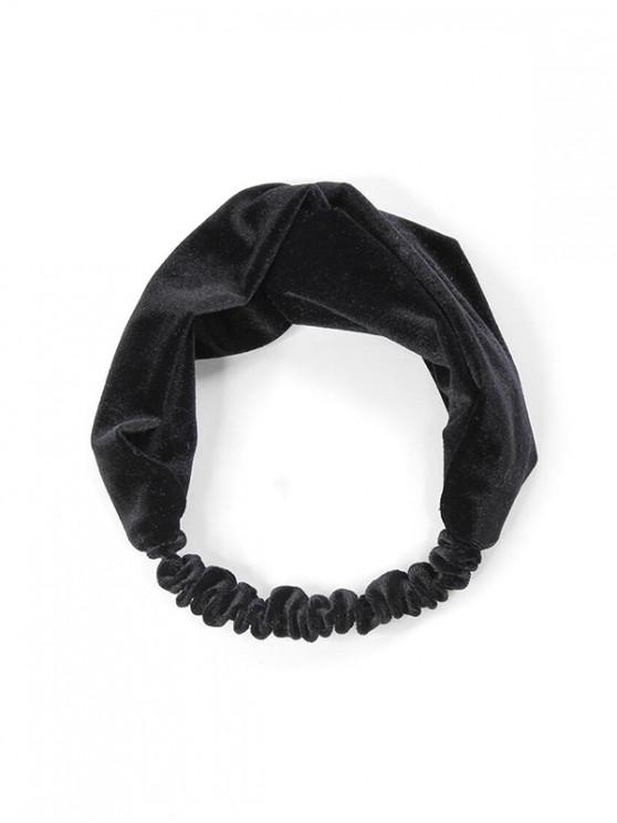 latest Retro Solid Velour Elastic Headband - BLACK