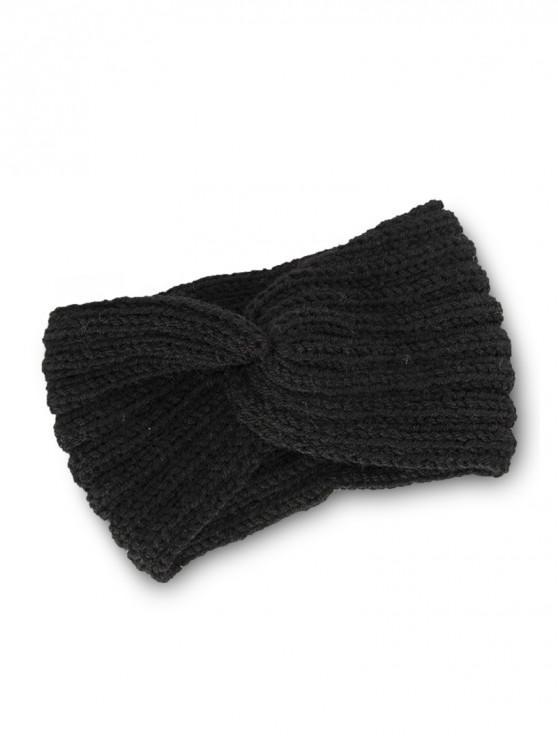 針織辮子結彈性頭帶 - 黑色