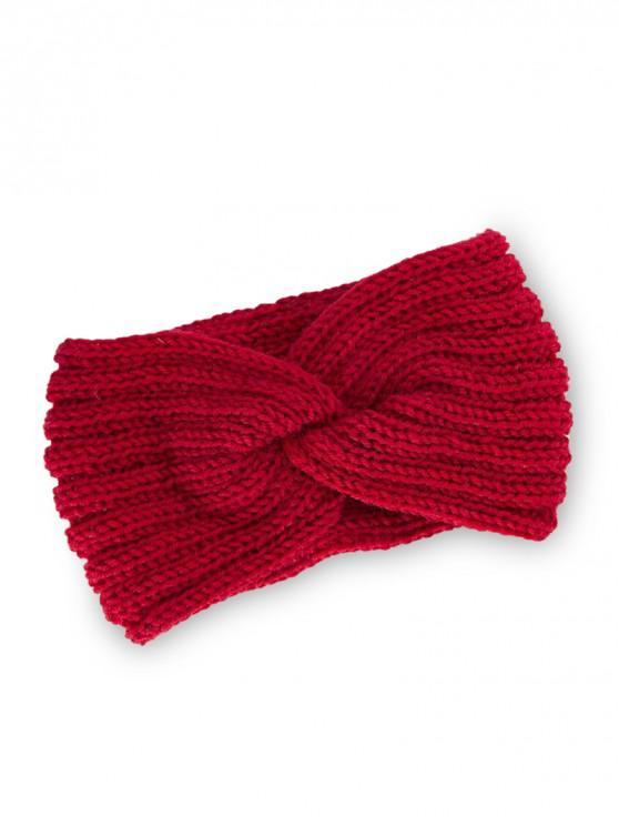 fancy Knitted Braid Knot Elastic Headband - RED