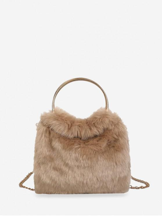 outfit Metal Handle Faux Fur Chain Handbag - CAMEL BROWN