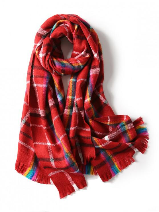 fashion Plaid Double Sided Fringe Long Scarf - RED