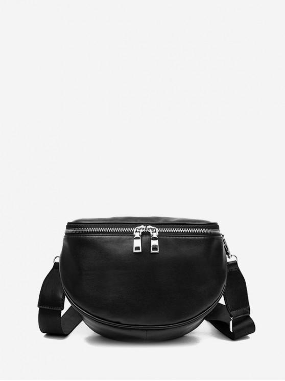 affordable PU Leather Lounge Crossbody Bag - BLACK