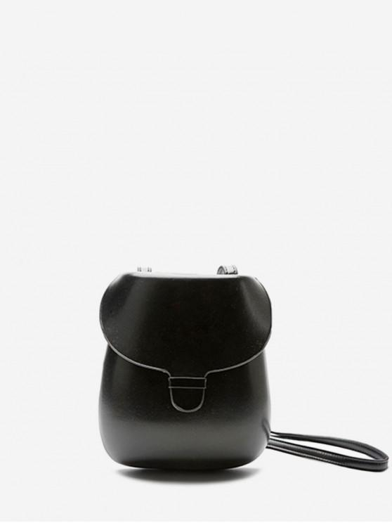 women's Chic Solid Color Decoration Crossbody Bag - BLACK