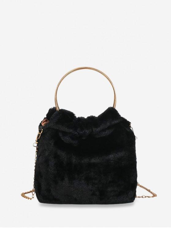 金屬手柄人造毛皮鏈手提包 - 黑色