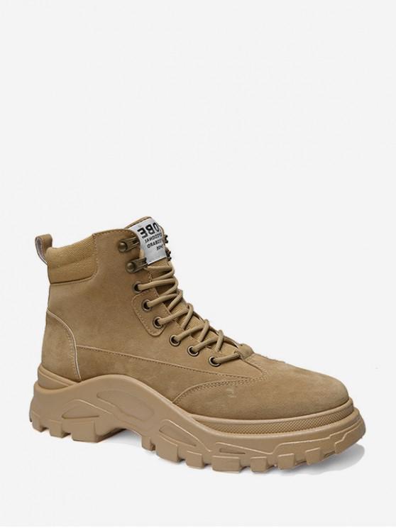fancy Lace Up Platform Cargo Short Boots - KHAKI EU 42