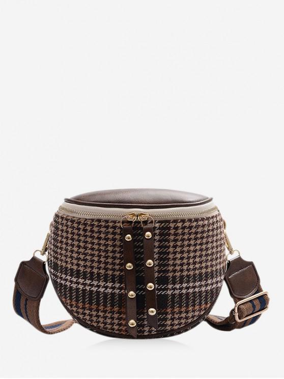 sale Vintage Houndstooth Shoulder Bag - LIGHT BROWN