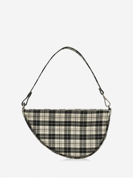latest Vintage Grid Irregular Shape Single Shoulder Bag - BLACK