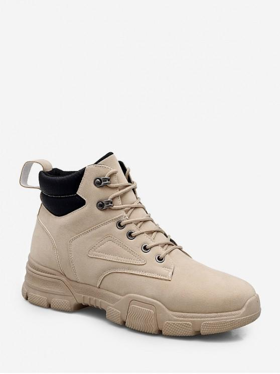trendy High Top Lace Up Cargo Shoes - BEIGE EU 44